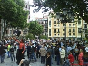 Foto al llegar a la marcha de los internautas el 24 de mayo en madrid.